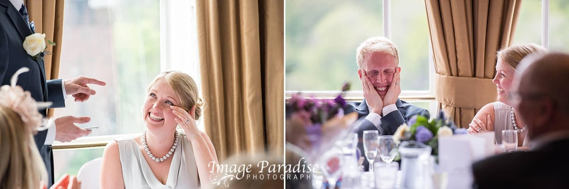 Bride & Groom during the wedding speeches at Avon Gorge Hotel