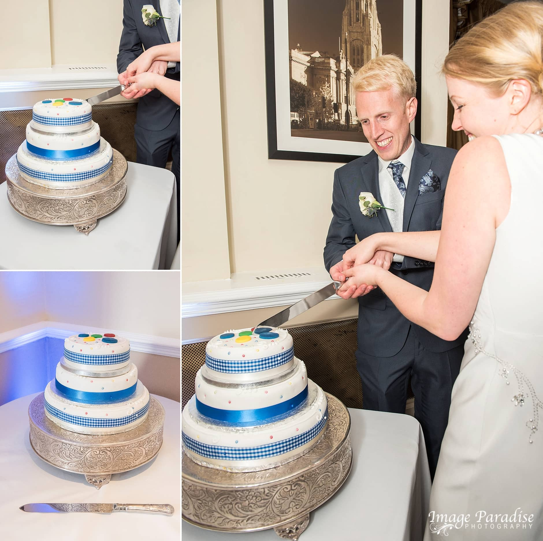 Cake cutting at wedding at The Avon Gorge Hotel