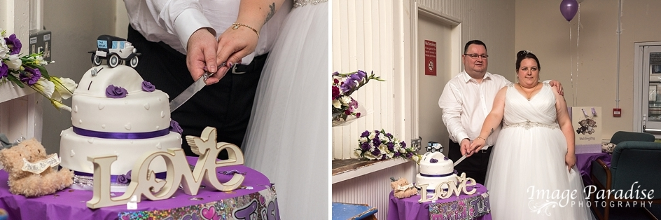 cutting wedding cake at Hungerfield community centre