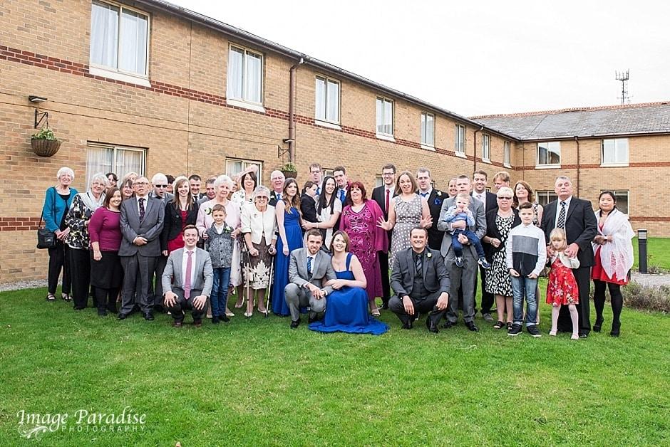 Group photo Hilton Bristol wedding