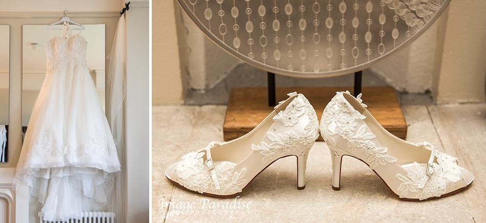 Wedding dress and shoes at Homewood park hotel