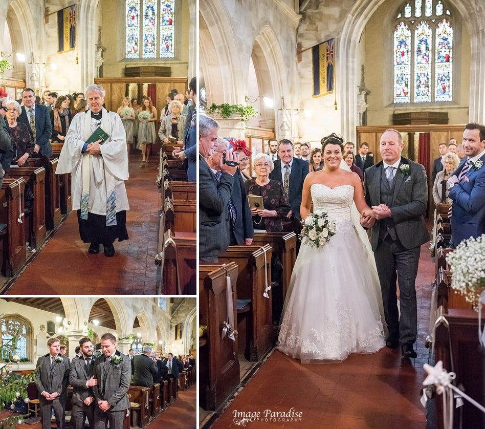 Bride walking down the aisle at St Katherine's Church, Holt