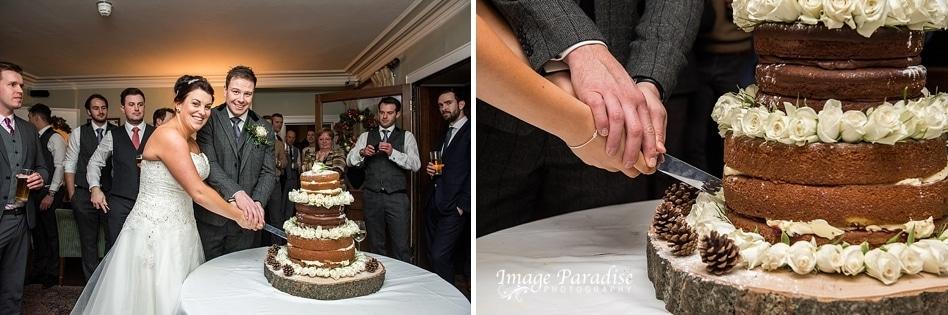 wedding cake cutting at Homewood park Hotel Bath