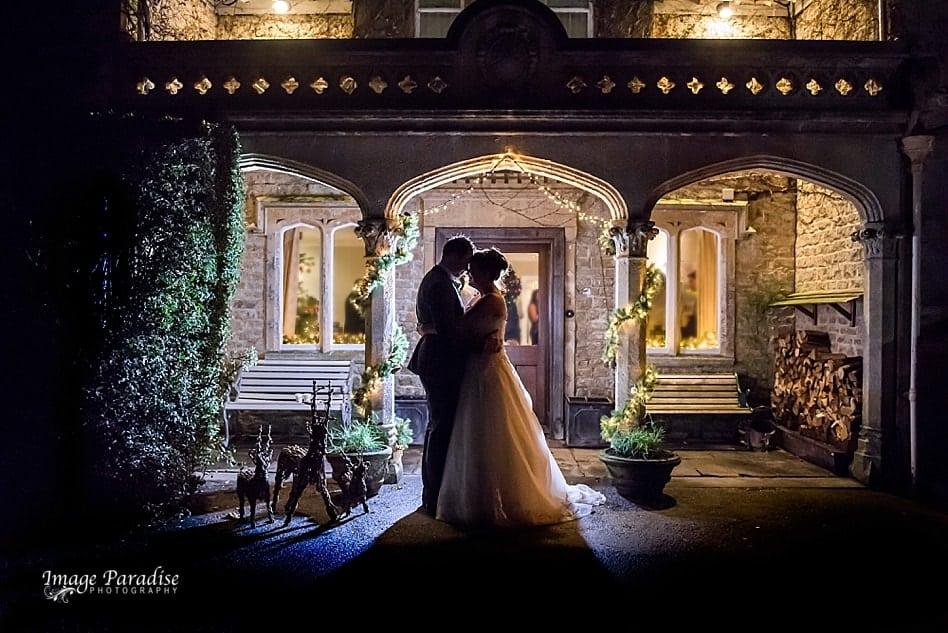 Bride & Groom night portraits at Homewood park Hotel Bath