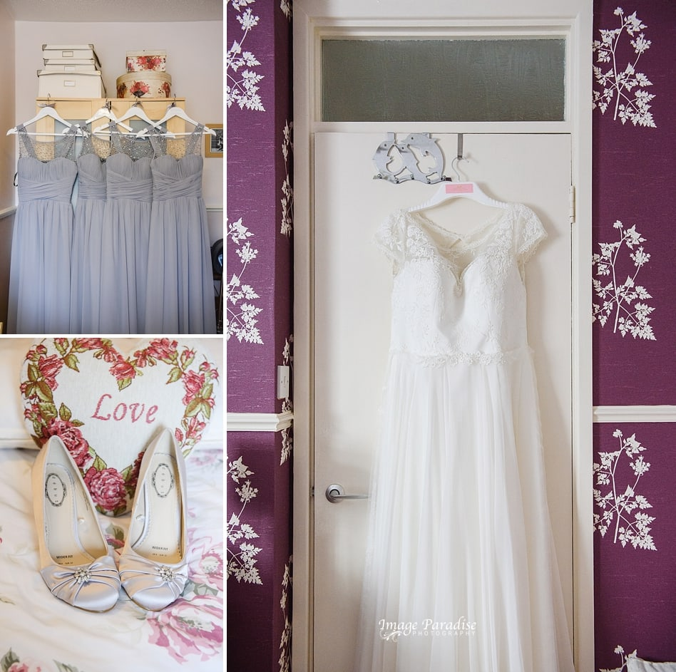Getting ready pictures for St Cuthbert church wedding