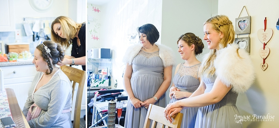 getting ready for St Cuthbert church wedding