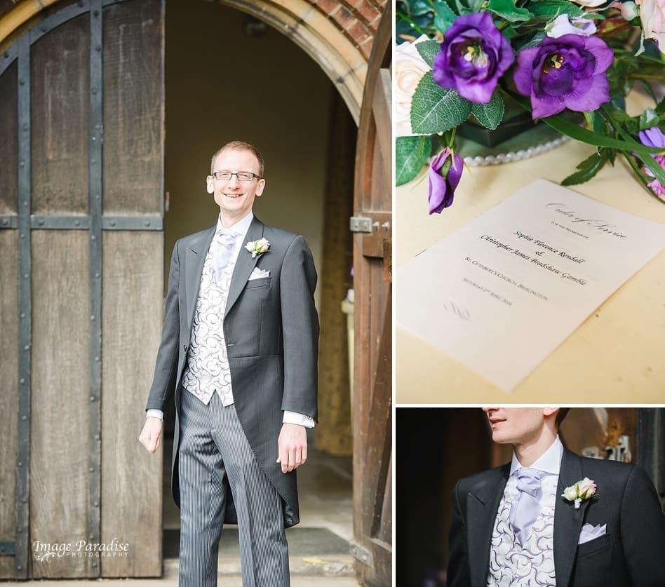 Groom on wedding day at St Cuthbert church