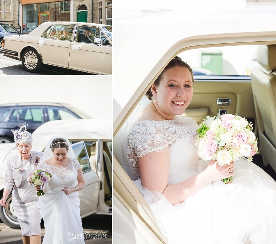 bride arriving in vintage car to St Cuthbert church wedding