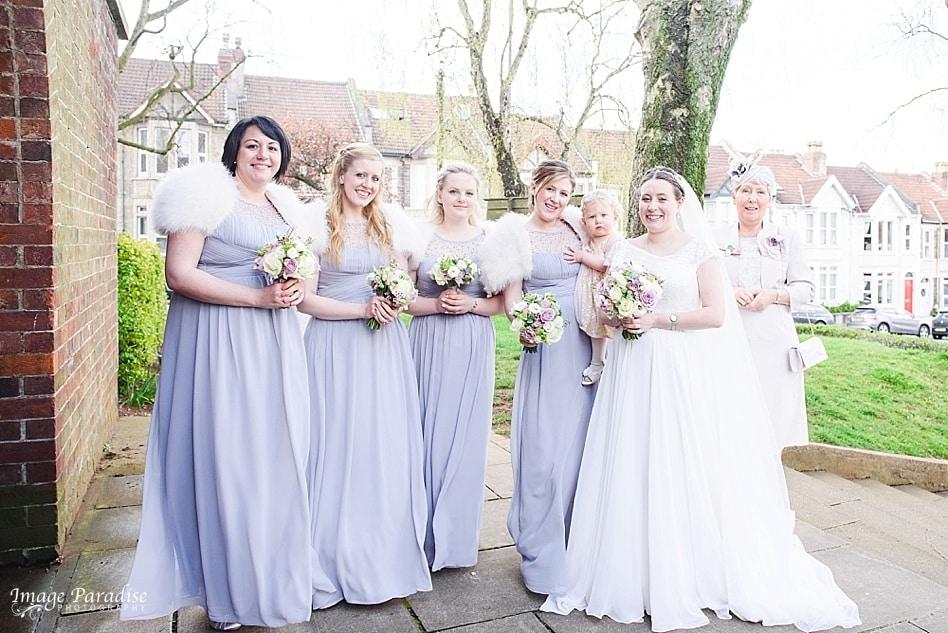 bridesmaids at St Cuthbert church wedding Bristol