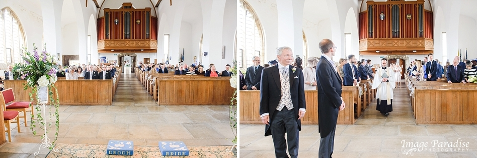 Groom waiting for church ceremony at St Cuthbert church