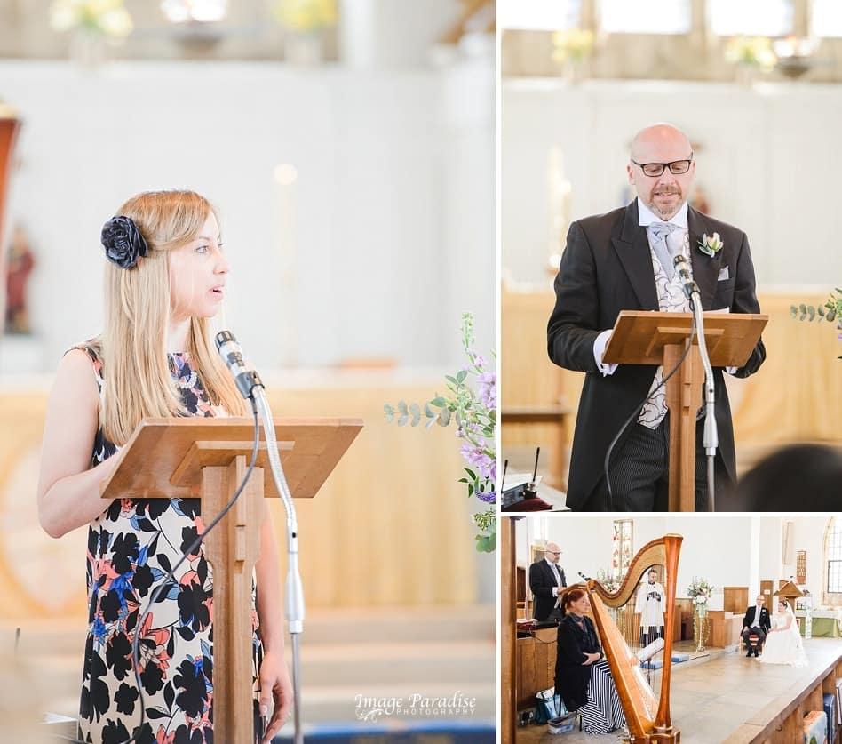 Church readings at a wedding St Cuthbert church Bristol