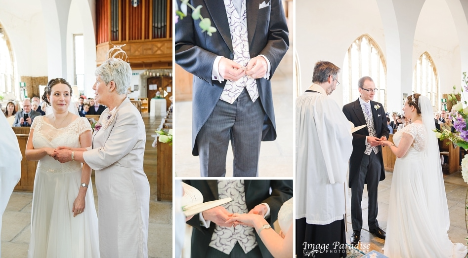 exchanging rings at St Cuthbert church Bristol