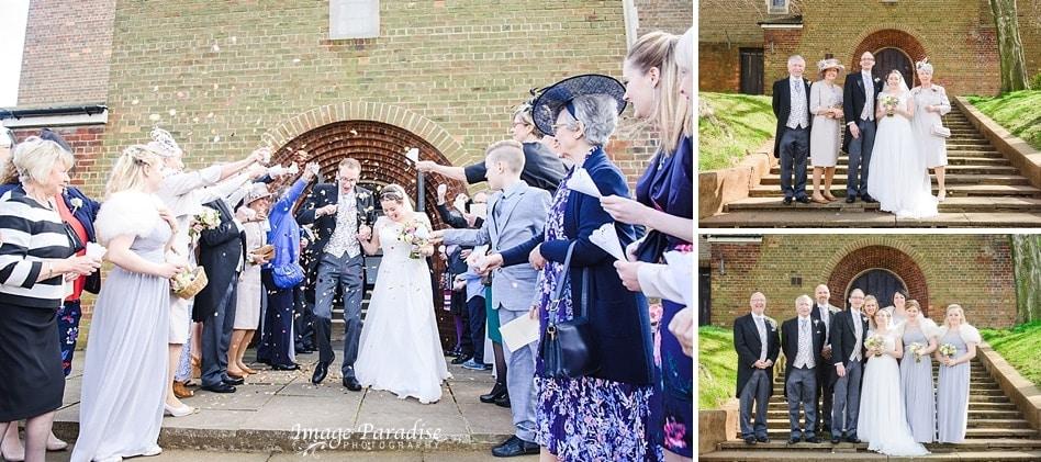 confetti being thrown after wedding at Cuthbert church Bristol