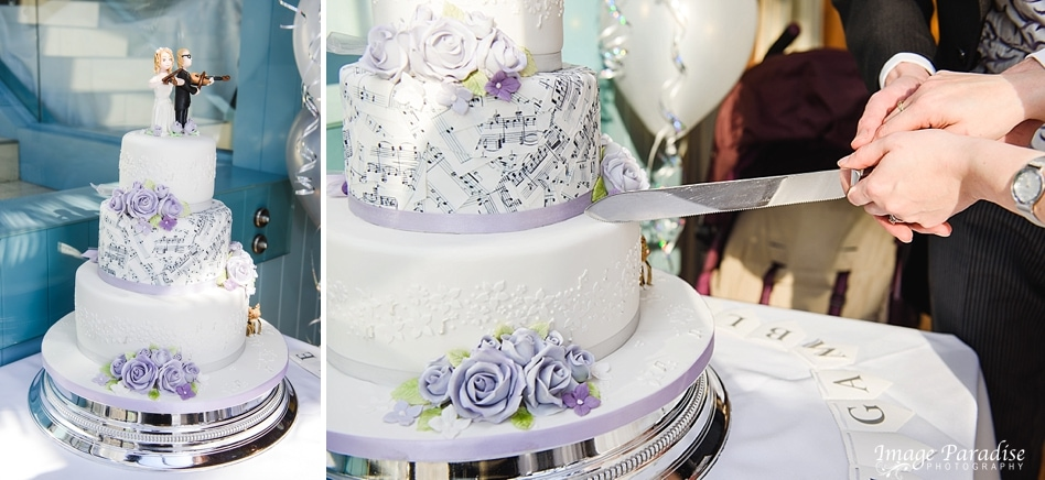 music themed cake cutting at the Bristol hotel