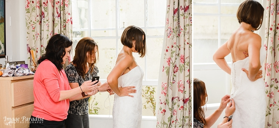 Bride getting ready for Chavenage House wedding