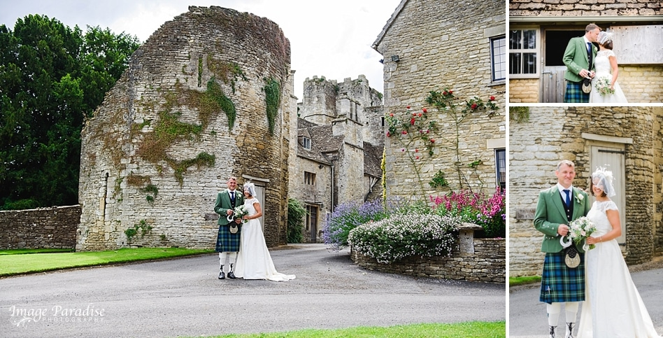bride & groom portraits at Beverston Castle