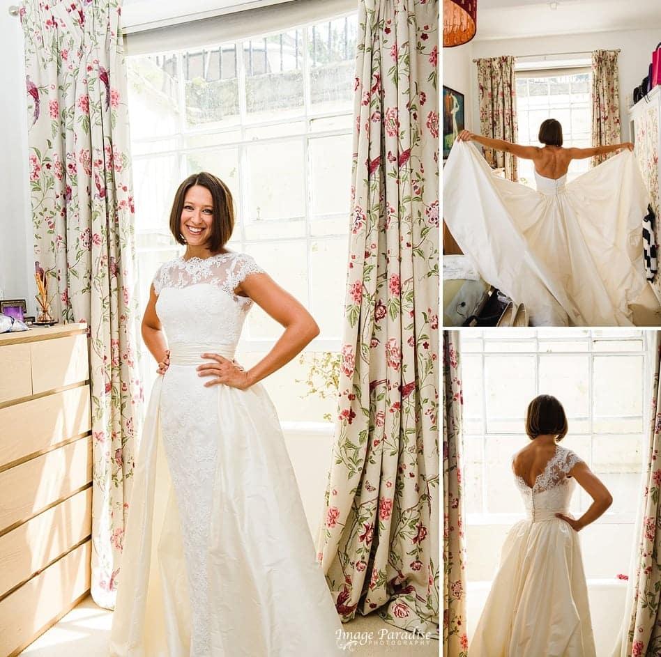 Bride wearing Stewart Parvin wedding dress