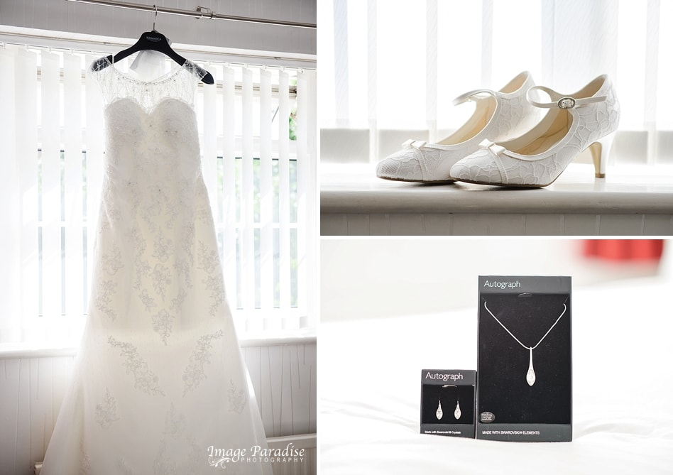 Wedding dress & shoes Aztec west hotel wedding
