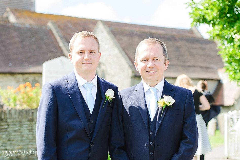 Groom & best man at St Michaels church Bristol