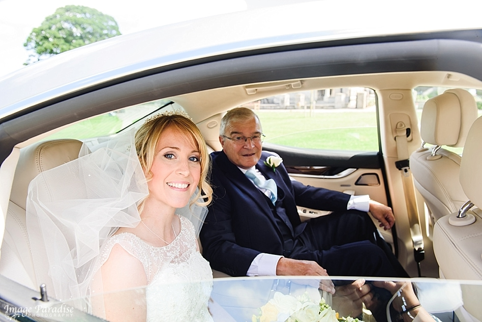 Bride arrived in wedding car at St Michaels church Bristol