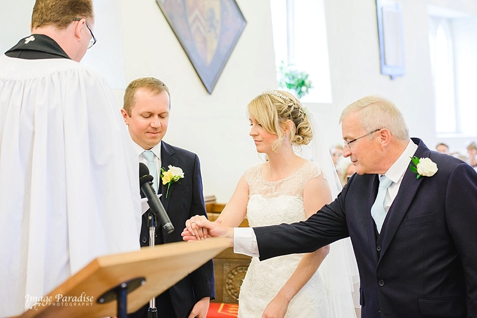 Father gives away brides hand at St Michaels church Bristol