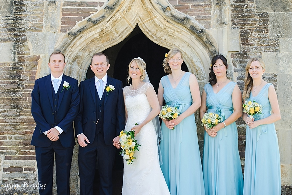 Bridal party photo at St Michaels church Bristol