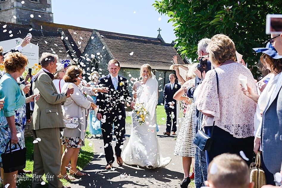 Confetti being thrown at a wedding at St Michaels church Bristol