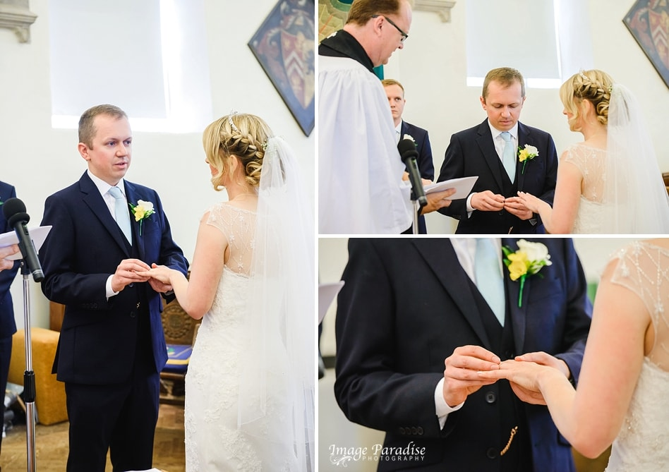 The exchange of rings at St Michaels church Bristol
