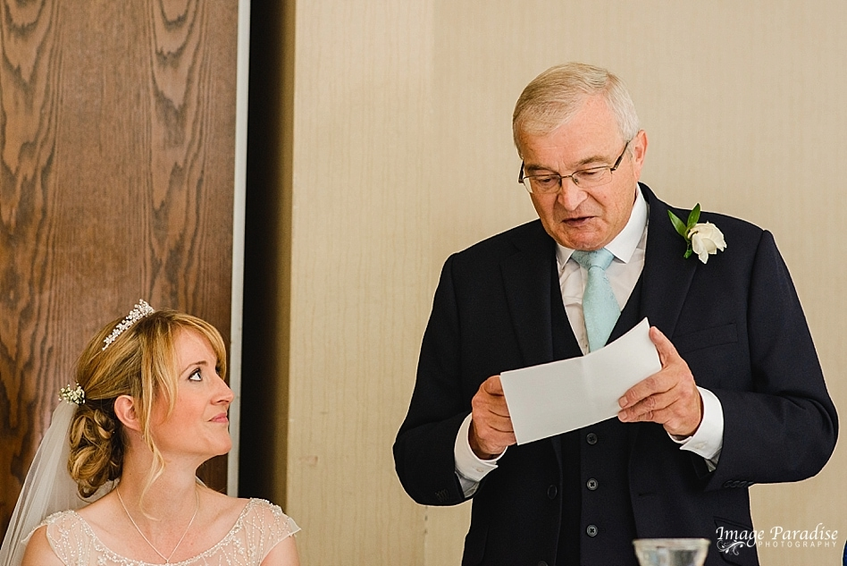 Father of the bride delivers speech at the Aztec west hotel wedding