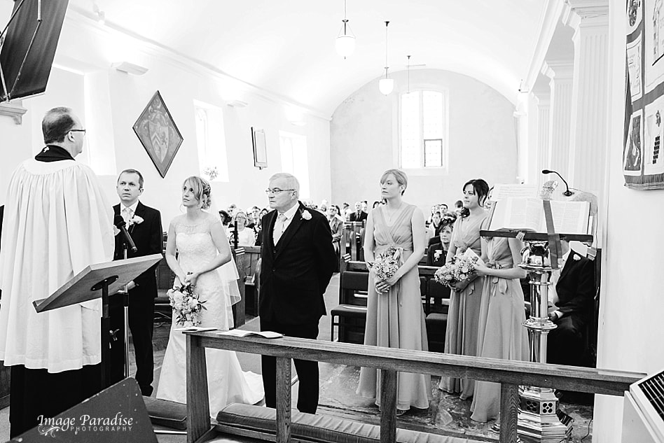 picture of bridal party at St Michaels church wedding Bristol