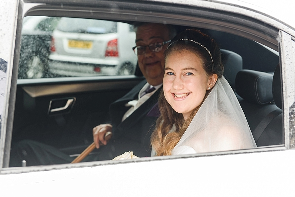 Bride arriving in wedding car at St Mary's church