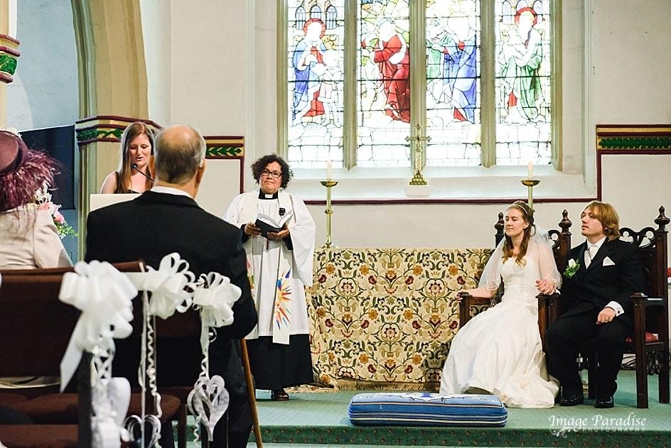 church reading on a wedding day