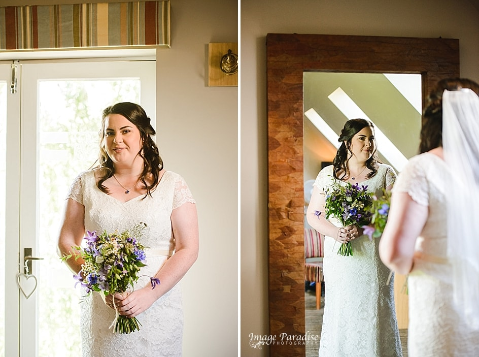 Bride in dress just before ceremony at Hyde Barn