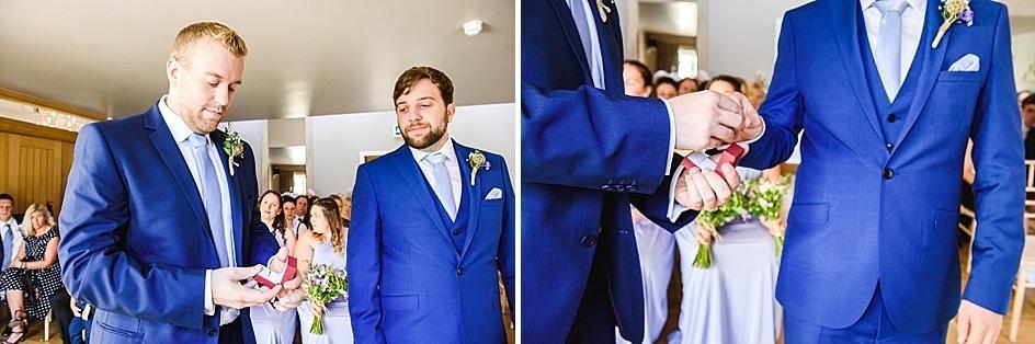 Best man giving over wedding rings