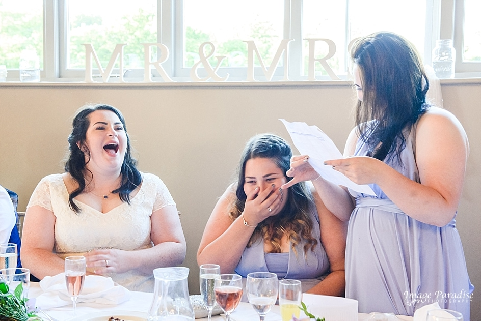 Laughter at wedding speeches