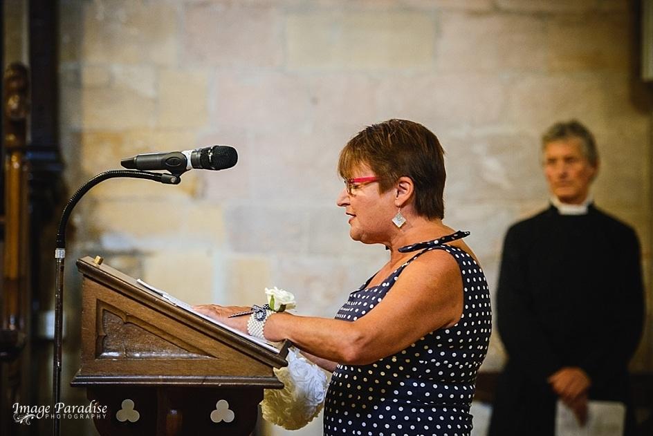 Wedding reading at Tewkesbury Abbey