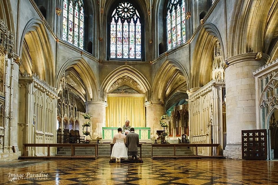 Wedding ceremony at Tewkesbury Abbey