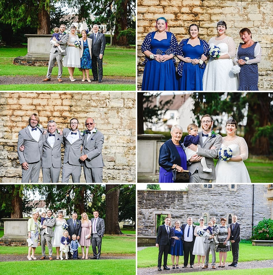Family photo's in the grounds of Tewkesbury Abbey wedding venue