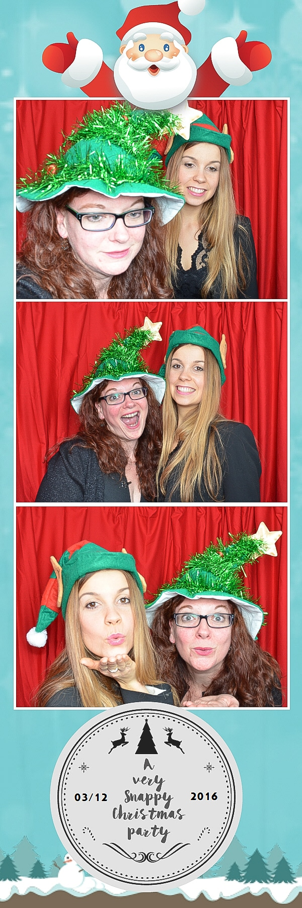 christmas elf hat and xmas tree photo booth
