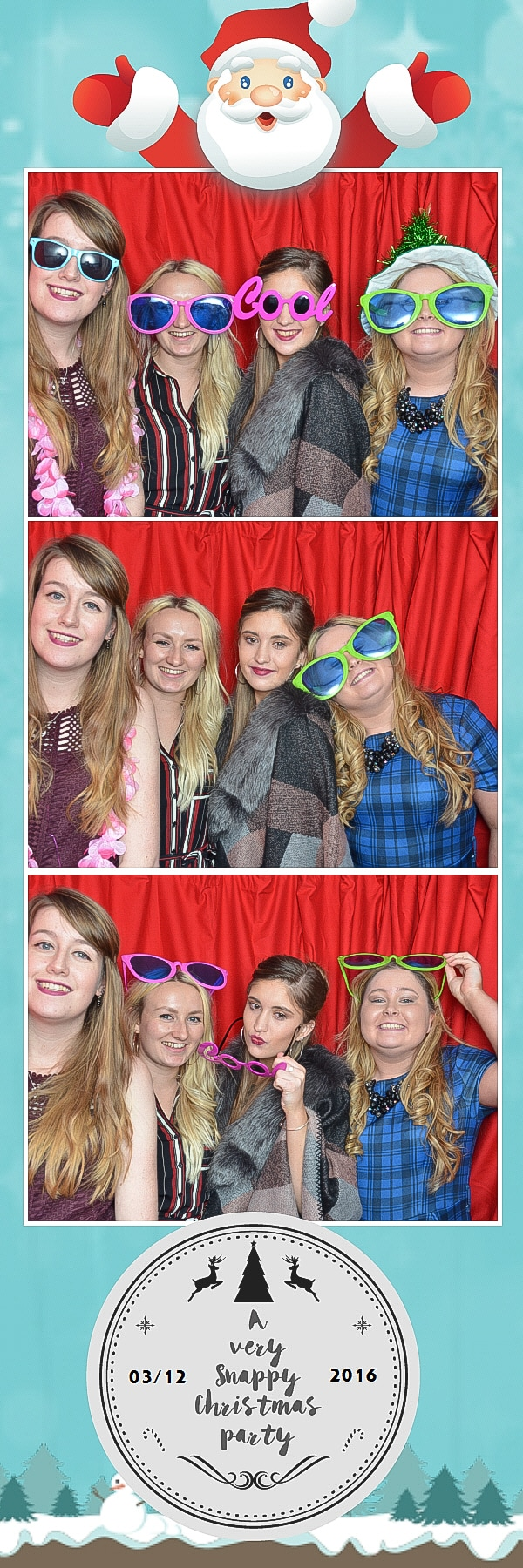 girls in red curtain photo booth