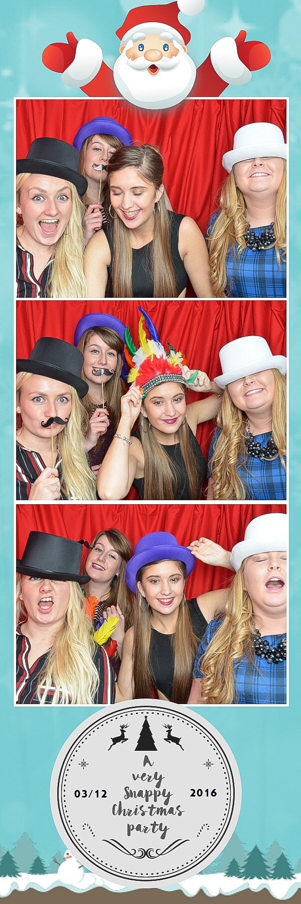girls in fancy dress at xmas party photo booth