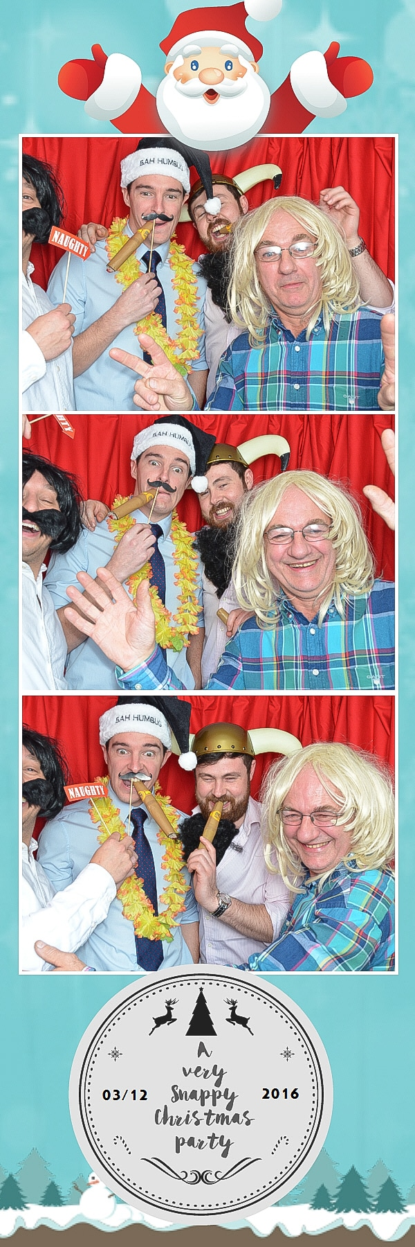 mens in fancy dress xmas photo booth