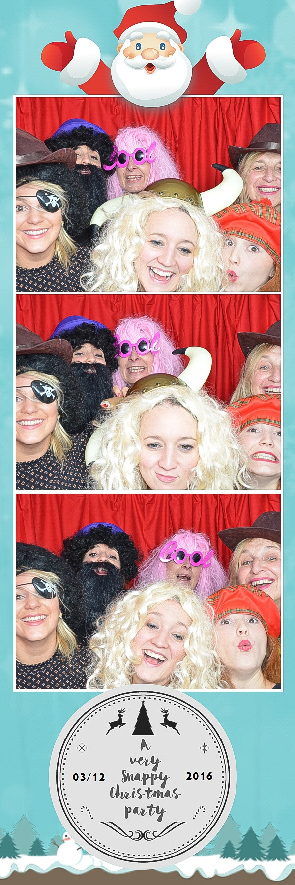 6 people in the work xmas party booth
