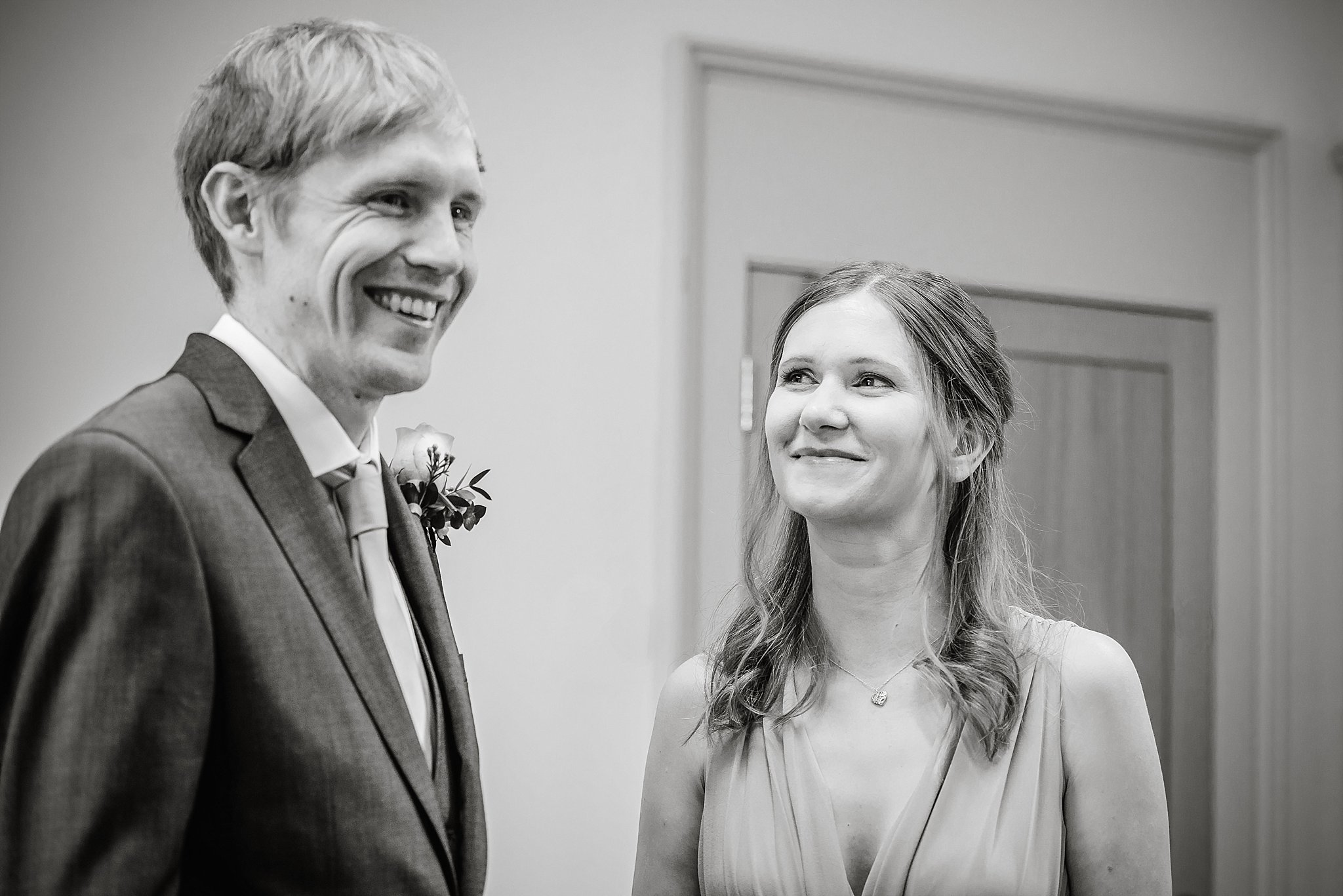 couple at their intimate wedding ceremony at Bristol registry office