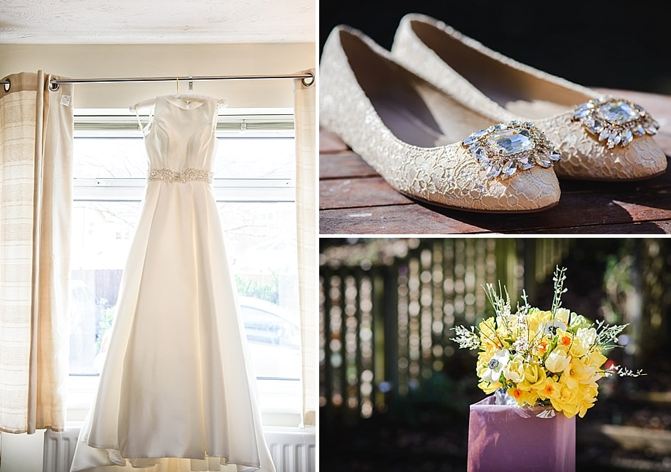 collage of brides wedding dress, bridal shoes and flowers