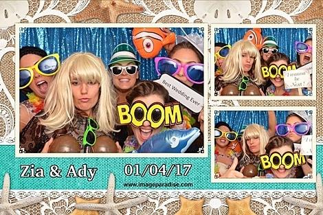 Beach themed wedding photo booth