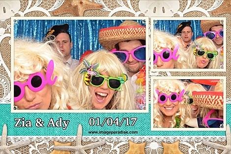 fancy dressed beach theme wedding photo booth