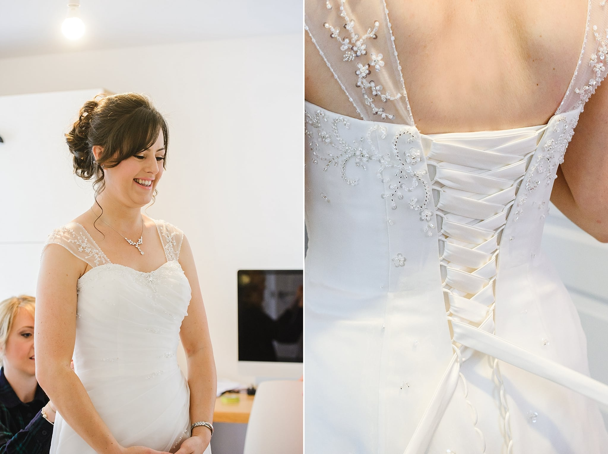 Bride getting ready into her wedding dress