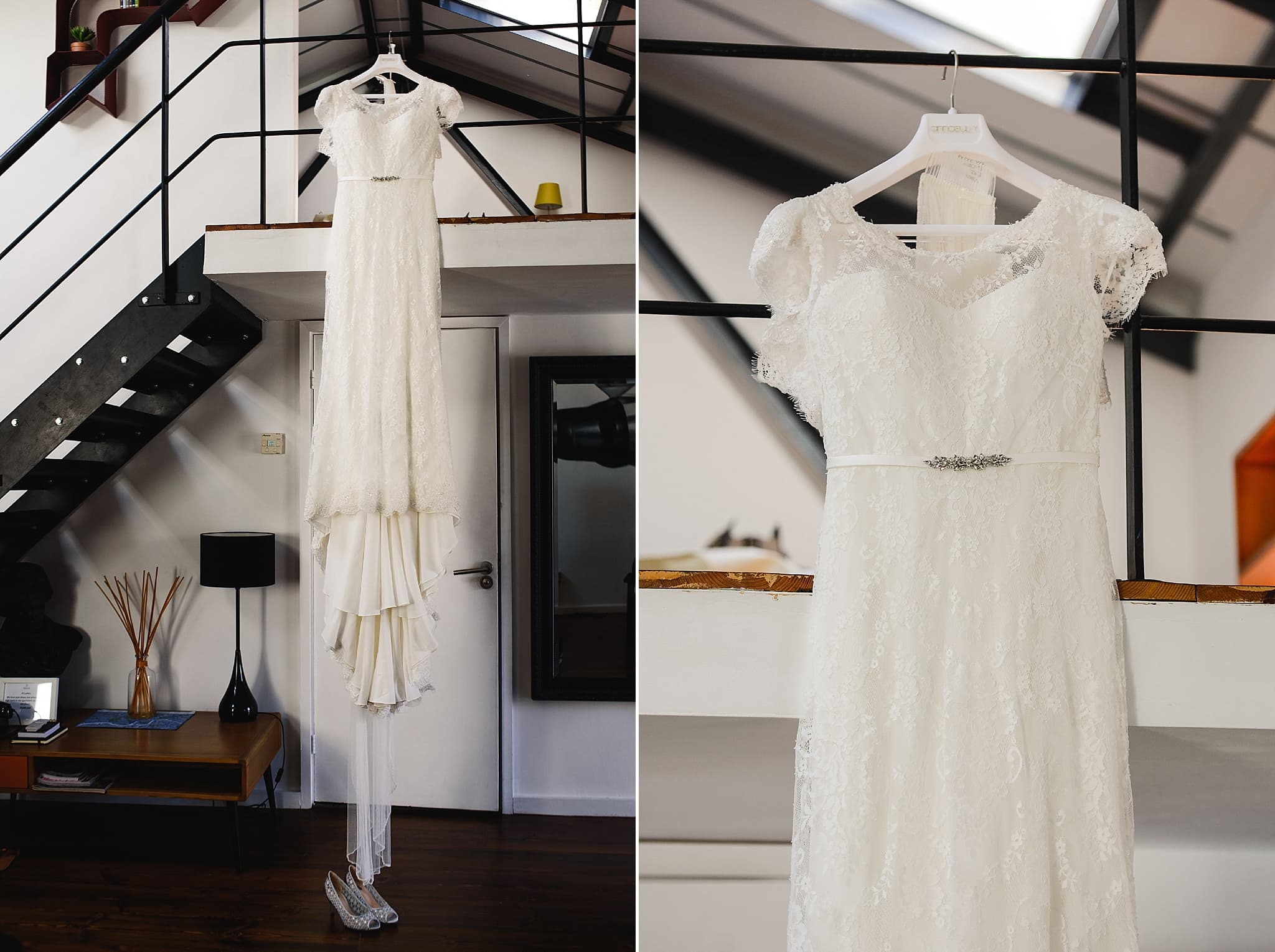 Wedding dress hanging up in the apartment at the Paintwork's Bristol