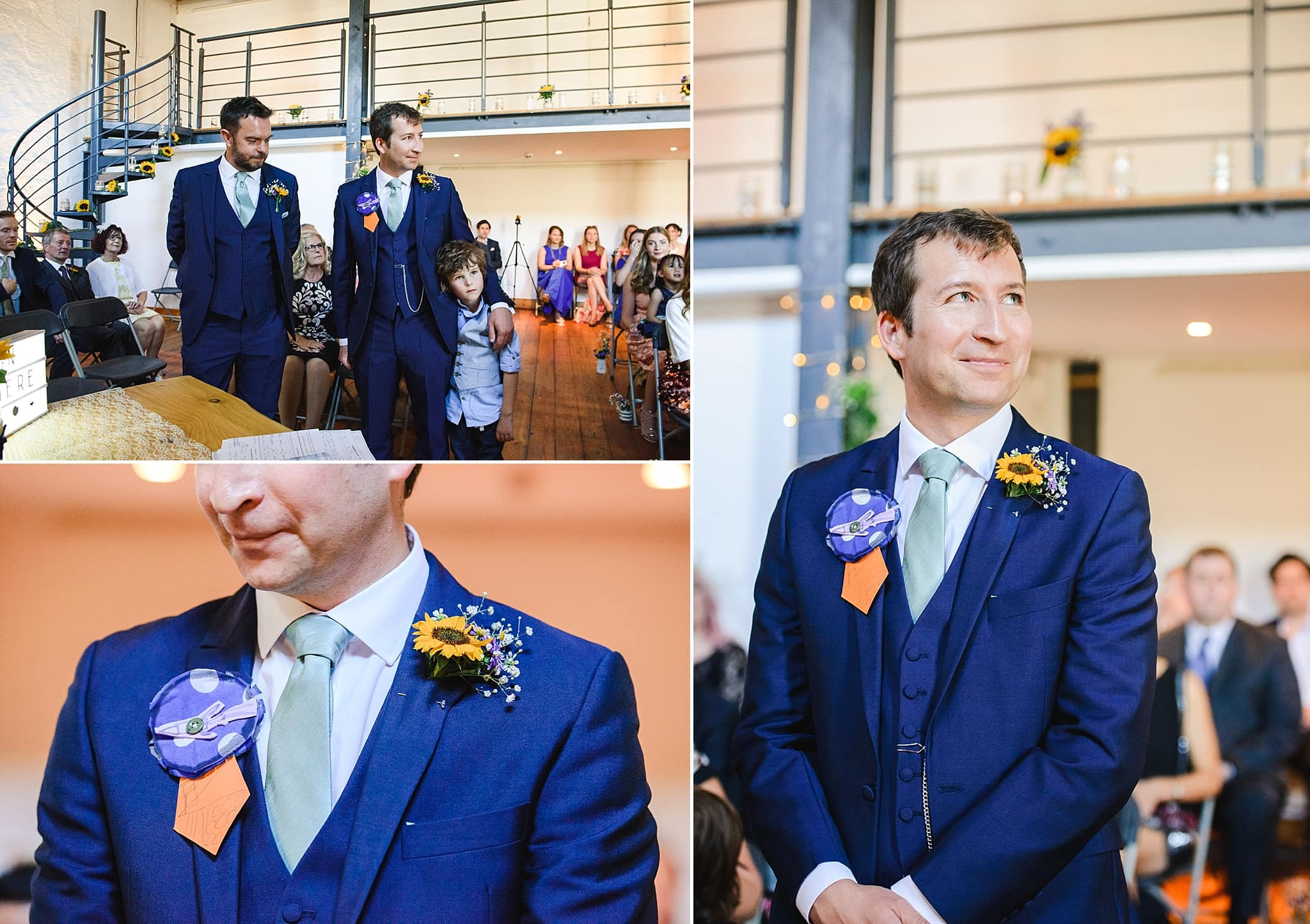 Groom waiting for his bride at Paintwork's wedding ceremony